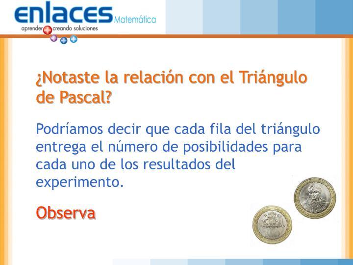 ¿Notaste la relación con el Triángulo de Pascal?