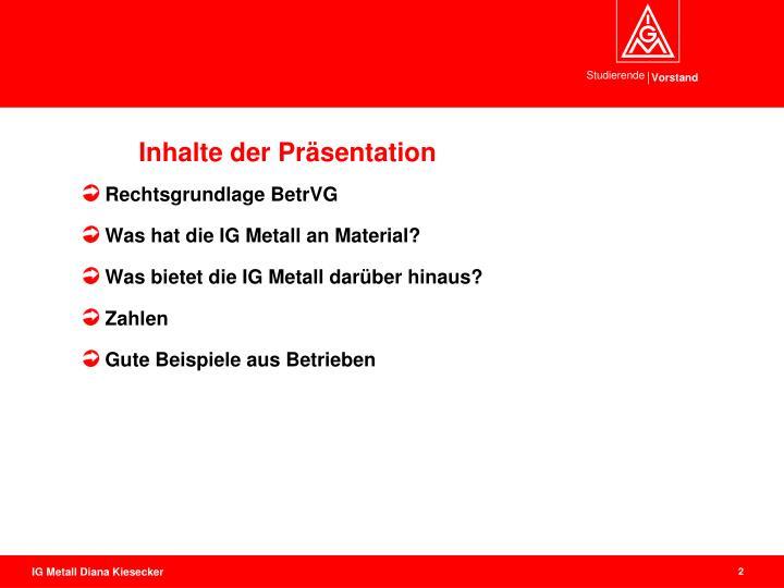 Inhalte der Präsentation