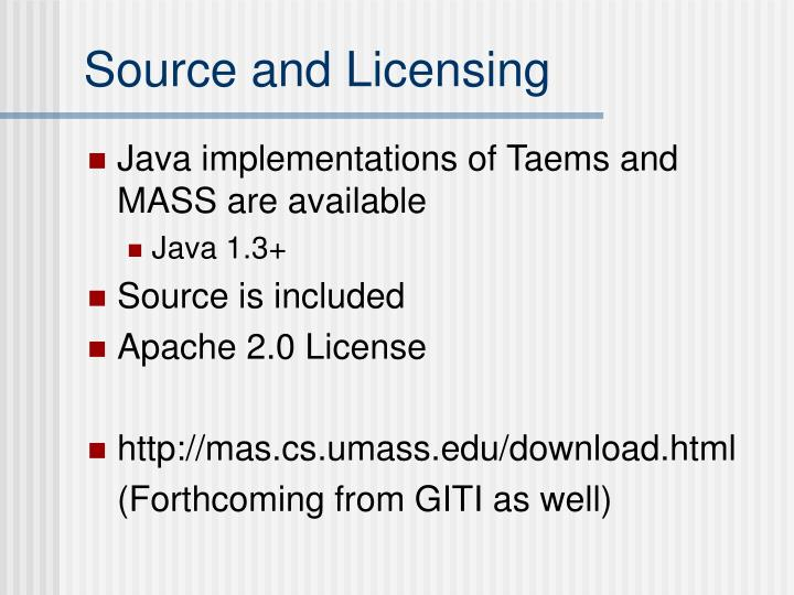 Source and licensing