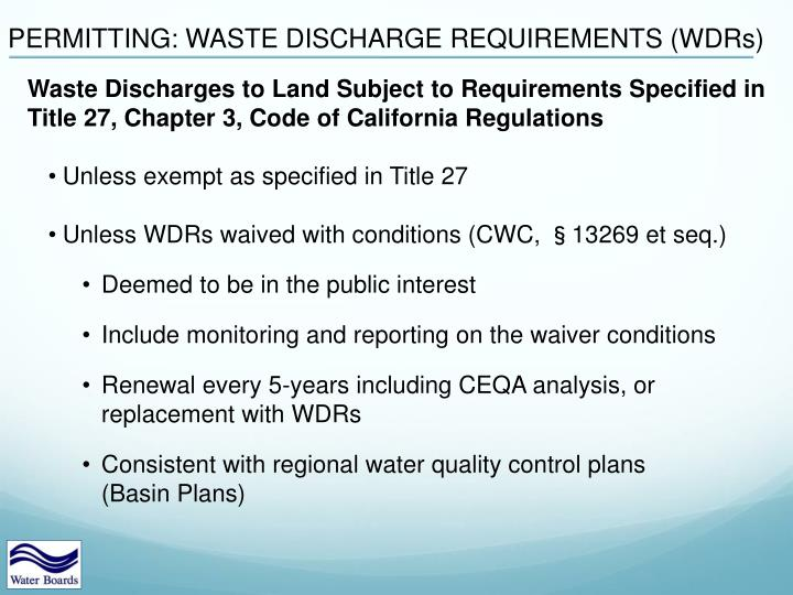 PERMITTING: WASTE DISCHARGE REQUIREMENTS (WDRs)