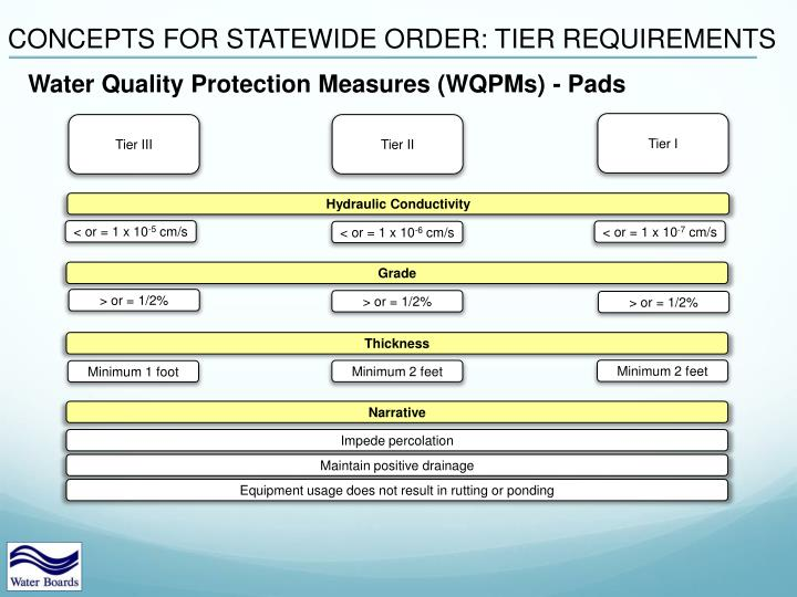 CONCEPTS FOR STATEWIDE ORDER: TIER REQUIREMENTS