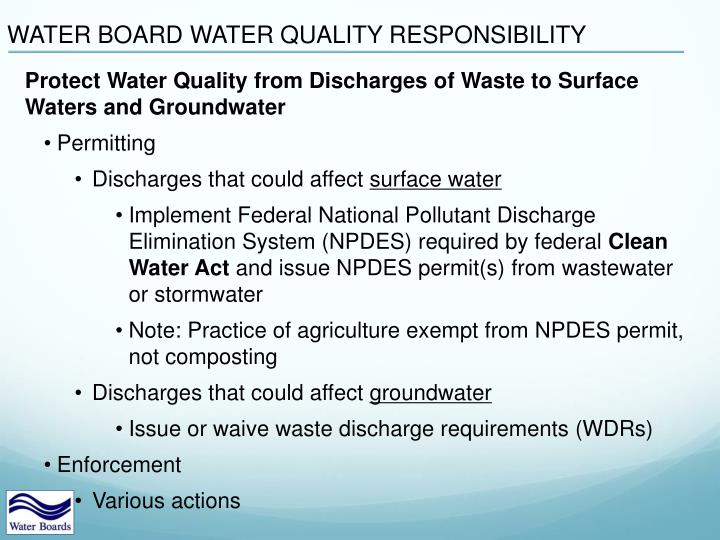 WATER BOARD WATER QUALITY RESPONSIBILITY