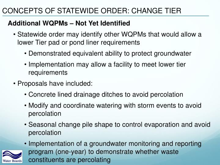 CONCEPTS OF STATEWIDE ORDER: CHANGE TIER