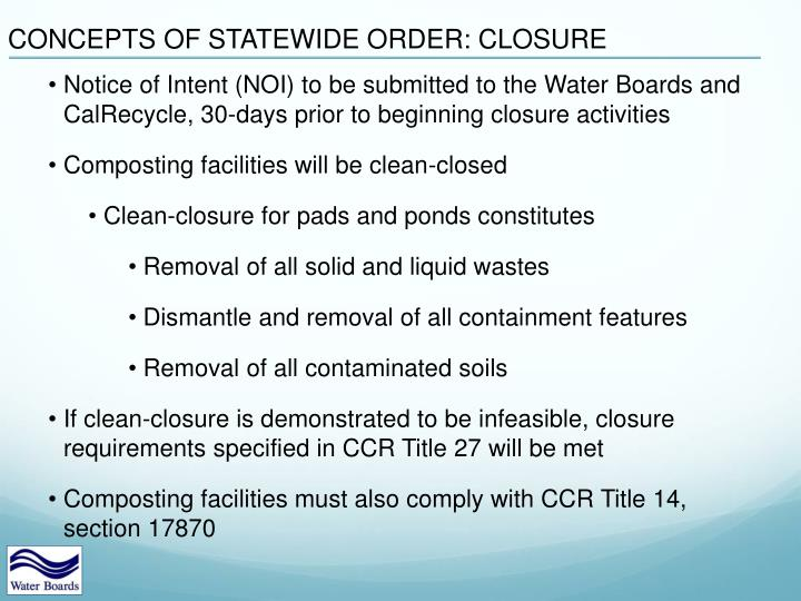 CONCEPTS OF STATEWIDE ORDER: CLOSURE