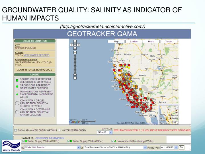 GROUNDWATER QUALITY: SALINITY AS INDICATOR OF HUMAN IMPACTS