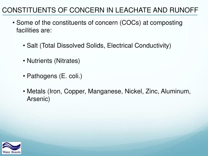 CONSTITUENTS OF CONCERN IN LEACHATE AND RUNOFF