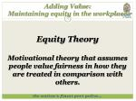 adding value maintaining equity in the workplace