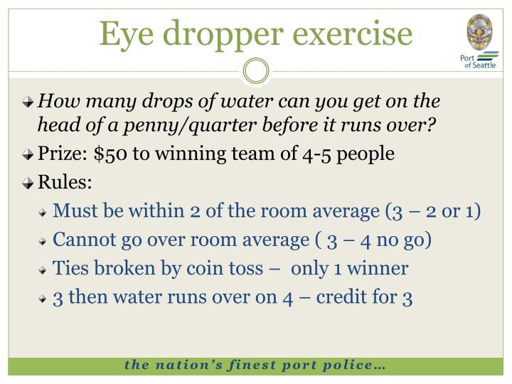 Eye dropper exercise