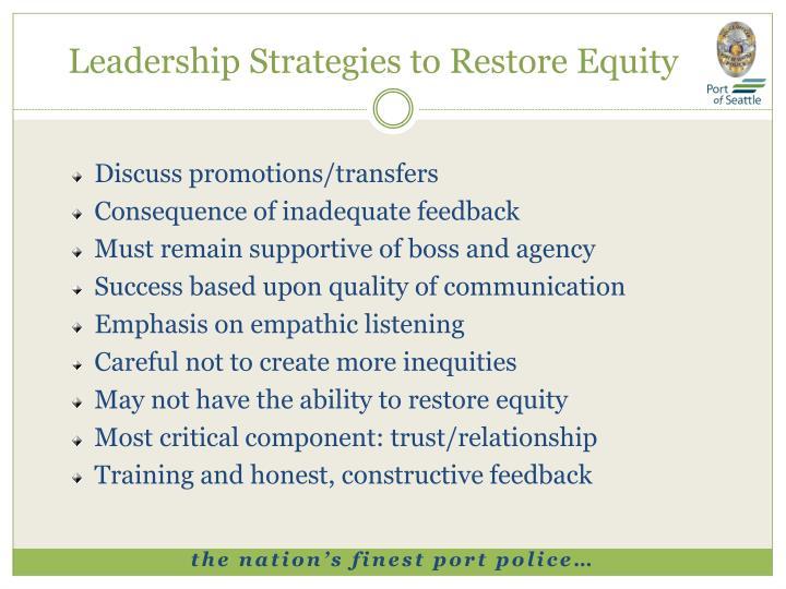 Leadership Strategies to Restore Equity