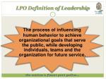 lpo definition of leadership