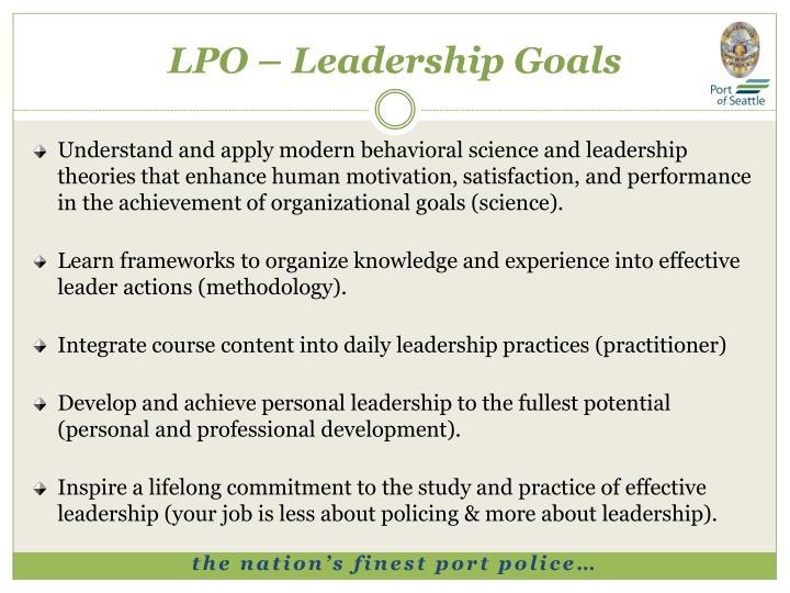 LPO – Leadership Goals