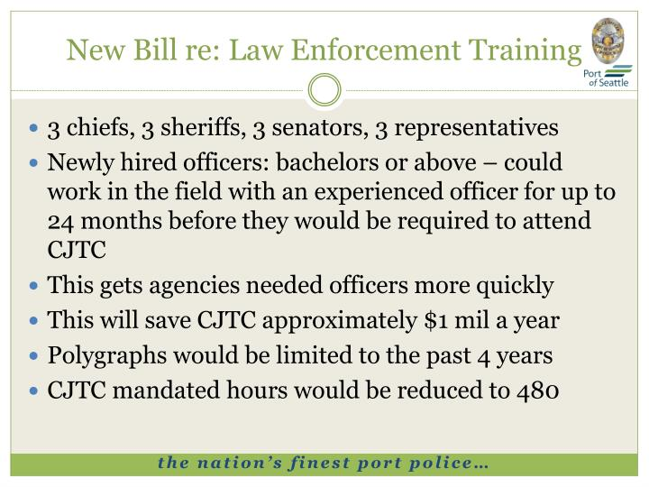 New Bill re: Law Enforcement Training
