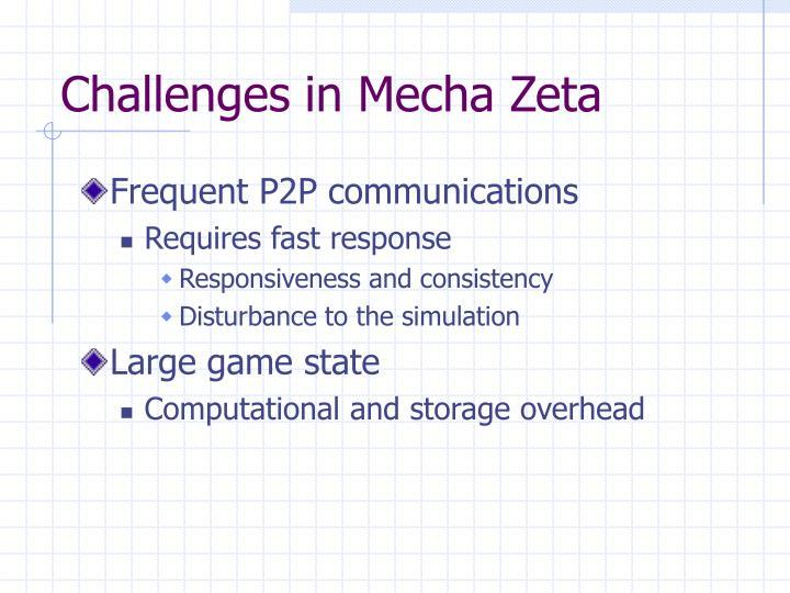 Challenges in Mecha Zeta