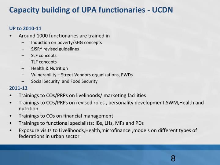 Capacity building of UPA functionaries - UCDN