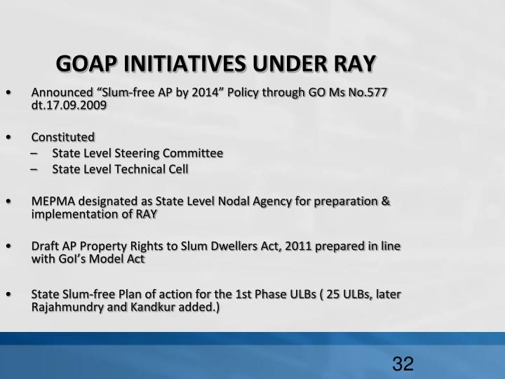 GOAP INITIATIVES UNDER RAY