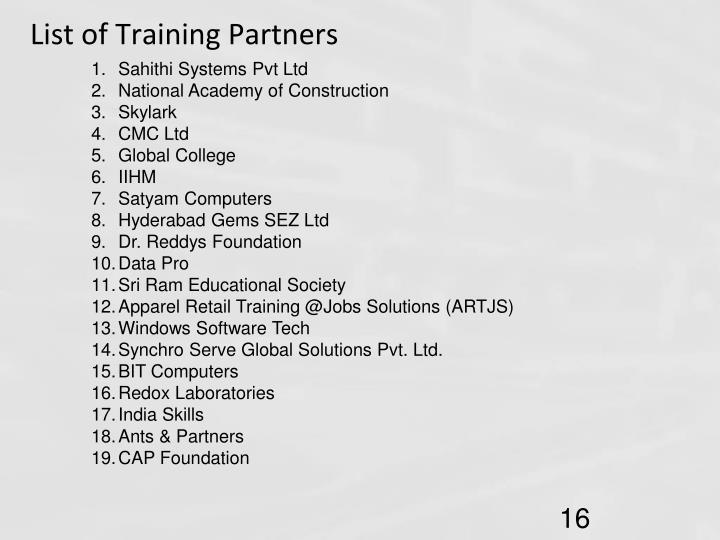 List of Training Partners