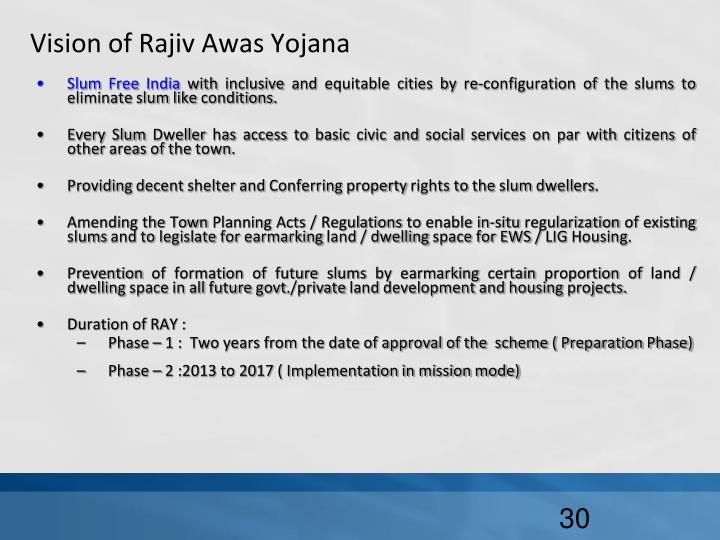Vision of Rajiv Awas Yojana