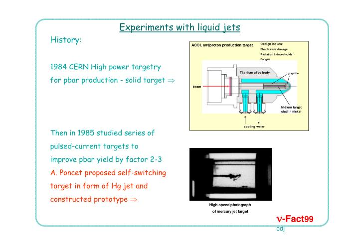 Experiments with liquid jets