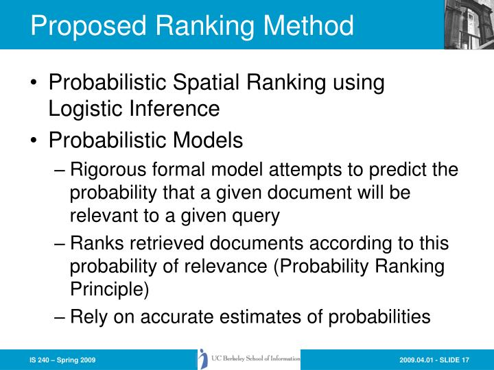 Proposed Ranking Method