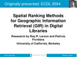 reasearch by ray r larson and patricia frontiera university of california berkeley