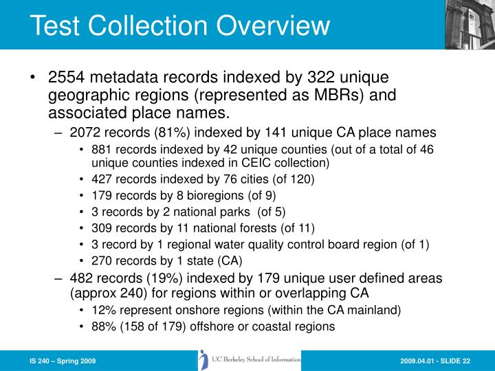 Test Collection Overview