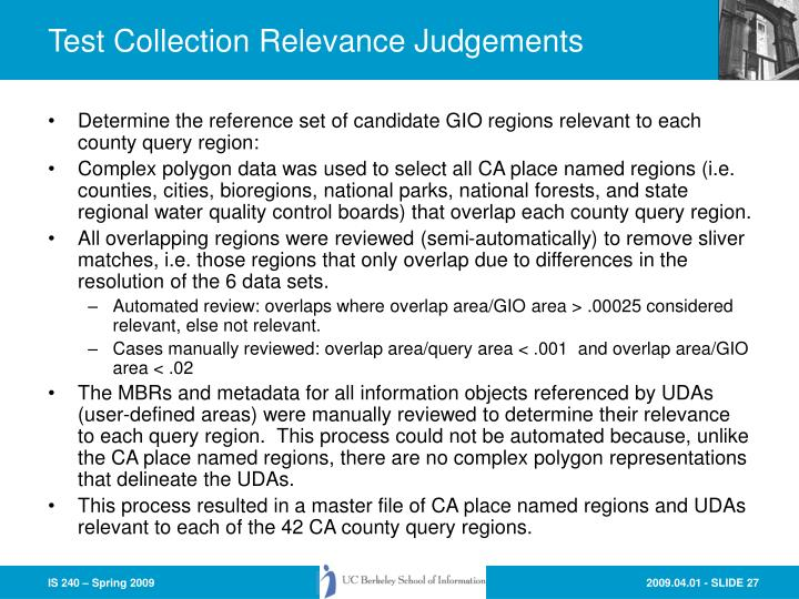 Test Collection Relevance Judgements