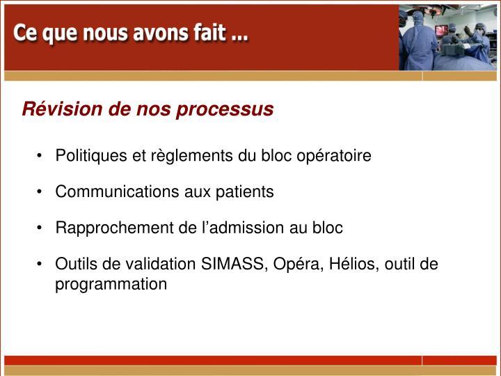 Politiques et règlements du bloc opératoire