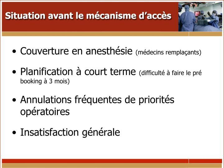 Couverture en anesthésie