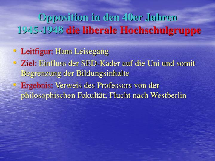 Opposition in den 40er Jahren