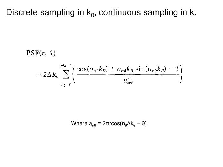 Discrete sampling in k
