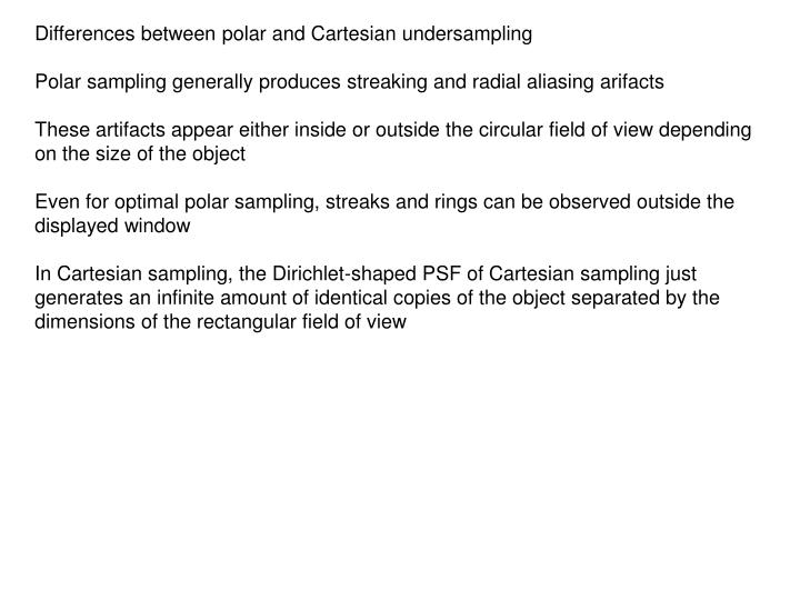 Differences between polar and Cartesian undersampling
