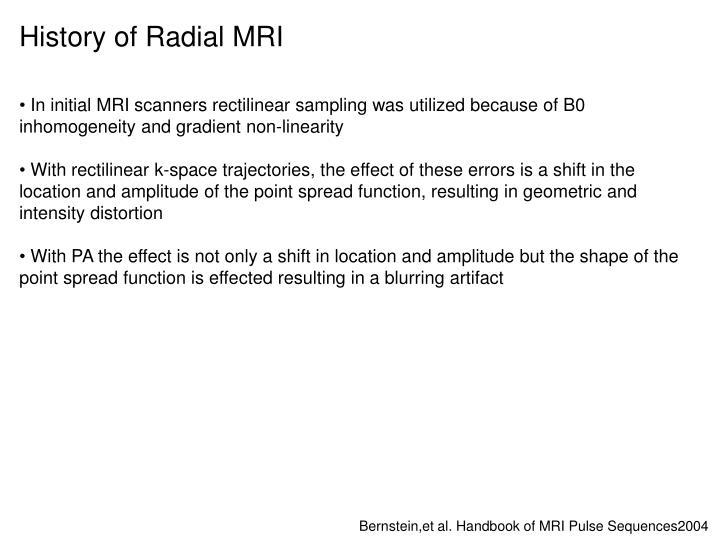 History of Radial MRI