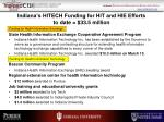 indiana s hitech funding for hit and hie efforts to date 33 5 million
