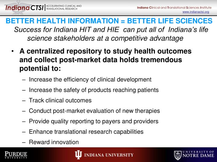 BETTER HEALTH INFORMATION = BETTER LIFE SCIENCES