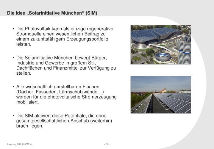 """Die Idee """"Solarinitiative München"""" (SIM)"""