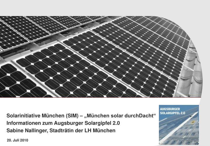 """Solarinitiative München (SIM) – """"München solar durchDacht"""""""