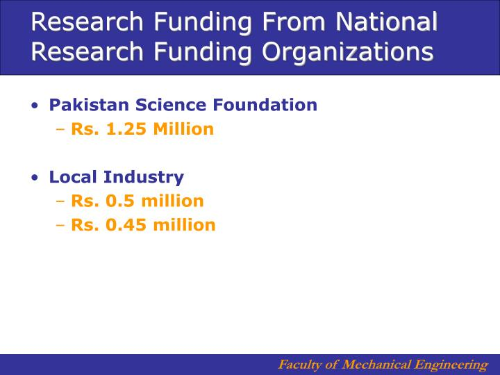 Research Funding From National Research Funding Organizations