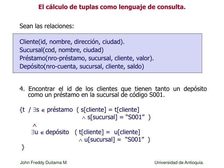 El cálculo de tuplas como lenguaje de consulta.
