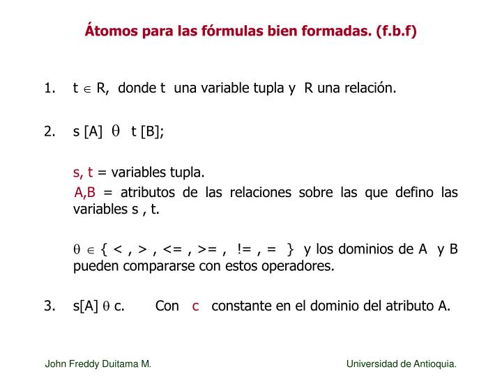 Átomos para las fórmulas bien formadas. (f.b.f)
