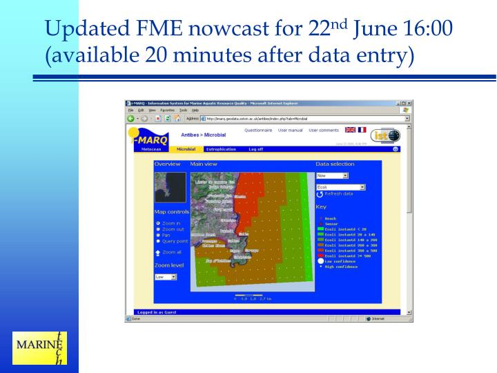 Updated FME nowcast for 22