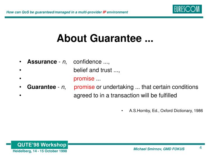 About Guarantee ...