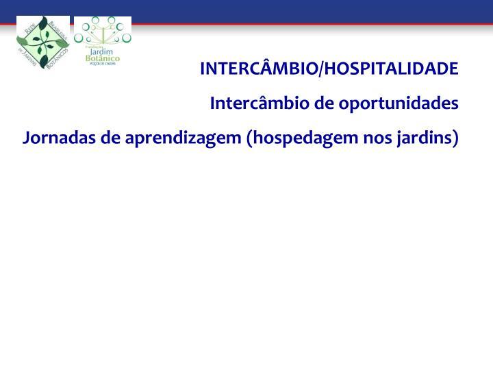 INTERCÂMBIO/HOSPITALIDADE