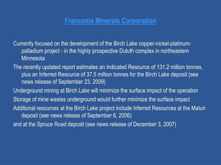 Franconia Minerals Corporation