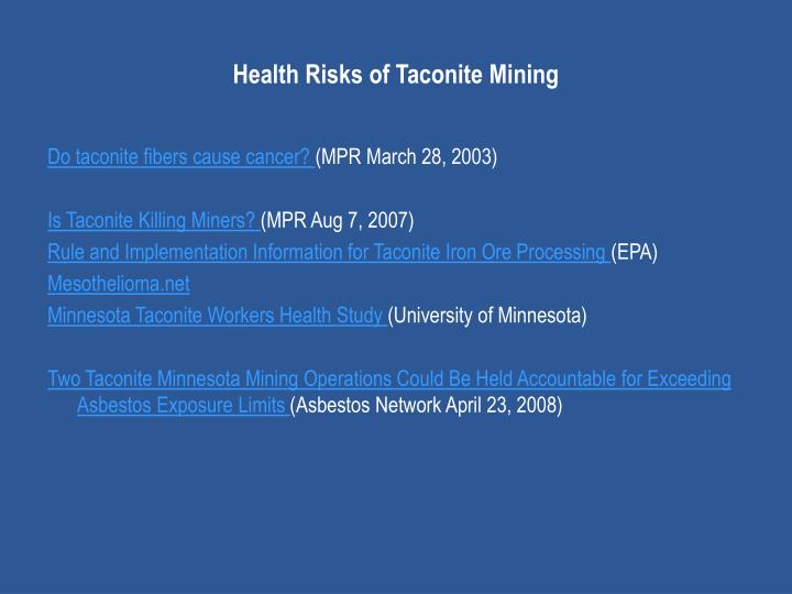 Health Risks of Taconite Mining