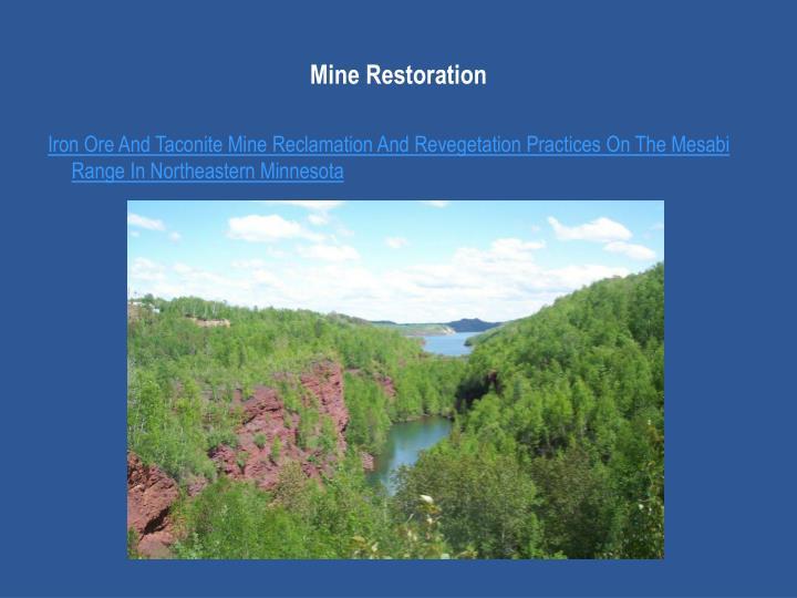 Mine Restoration
