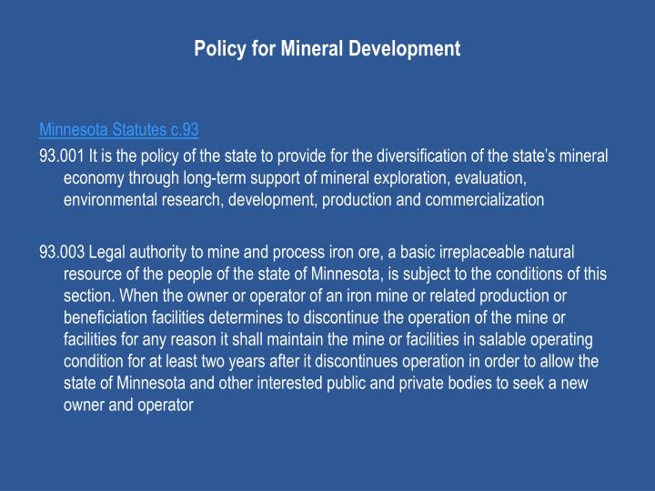 Policy for Mineral Development