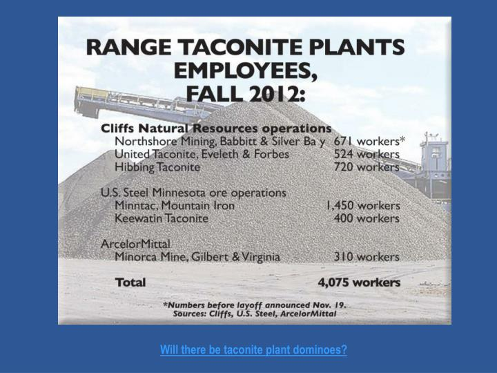 Will there be taconite plant dominoes?