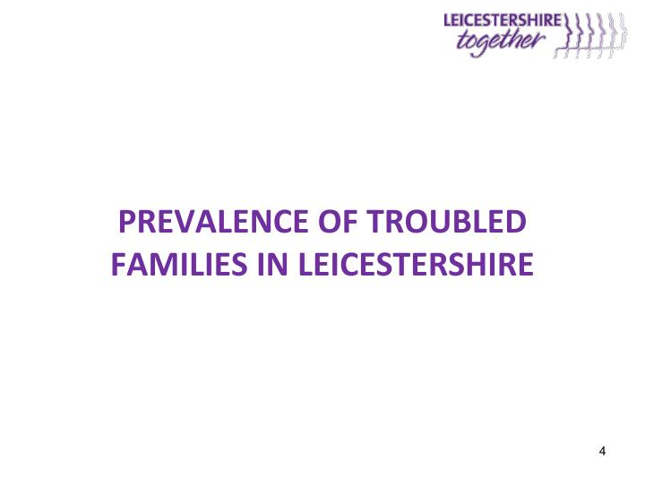 Prevalence of Troubled Families in Leicestershire