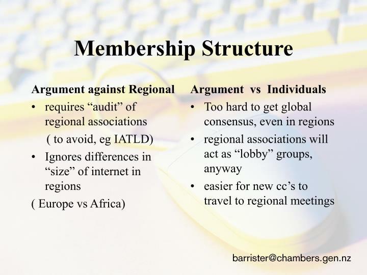 Argument against Regional