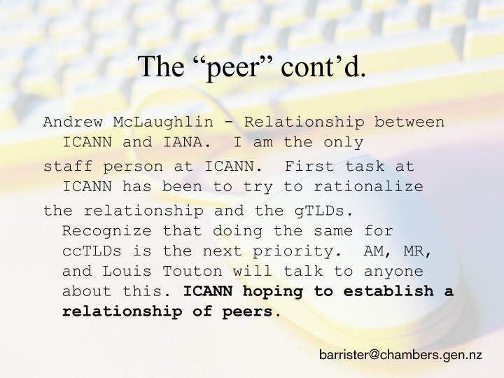 "The ""peer"" cont'd."